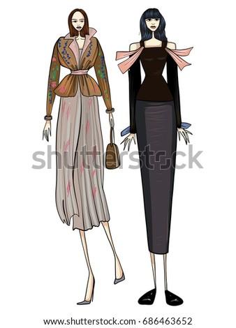15a3e5e1a8514d Fashion Girls Models Posing stockvector (rechtenvrij) 686463652 -  Shutterstock