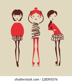 fashion girls posing isolated on light background vector illustration eps 10