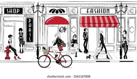 Fashion girls in sketch-style in Paris. Fashion woman portrait. Vector illustration.