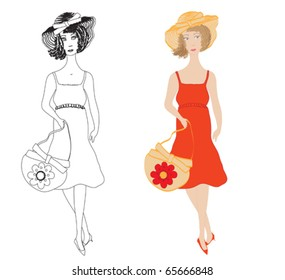 Fashion girls in  sundress with trendy hat and  handbag
