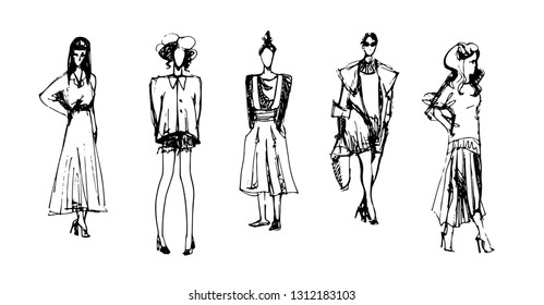 Fashion Girls. Vector Sketchy Hand Drawn Illustration Isolated on White Background.