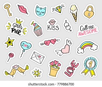 Fashion girly stickers set. Collection of hand drawn fancy doodle pins, patches, badges. Vector trendy illustration.