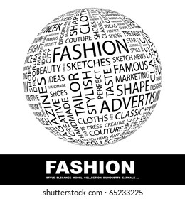 FASHION. Globe with different association terms.