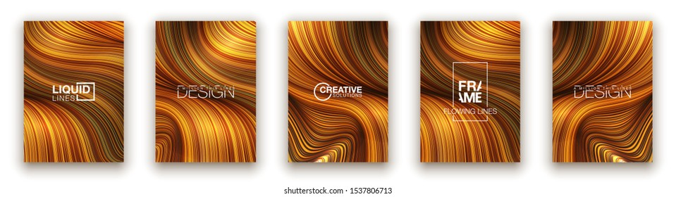 Fashion gold poster million thin lines luxury design. Liquid wave lines fashion background. Beautiful flowing drape textiles from multitude of thin threads. Vector illustration vogue drape banner set