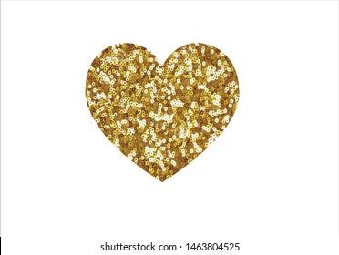 fashion  golden sequin heart design vector