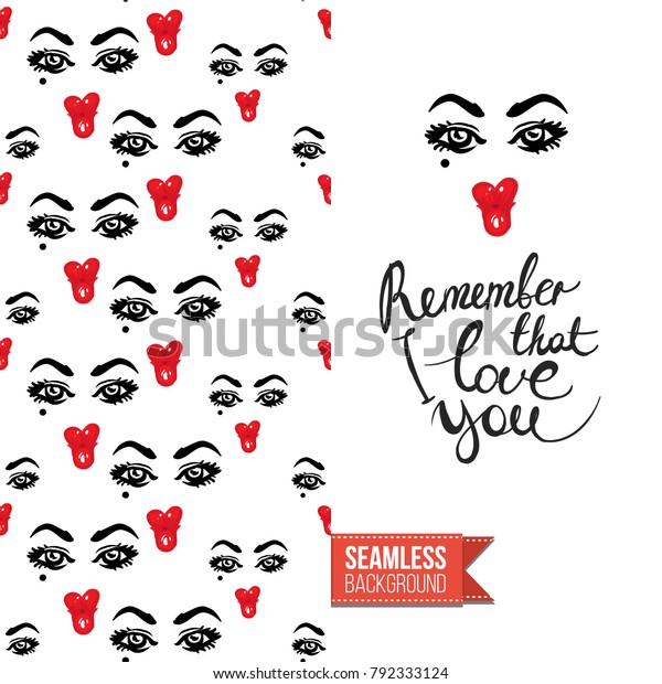 Fashion Greeting Card Girl Emotional Faces Stock Vector