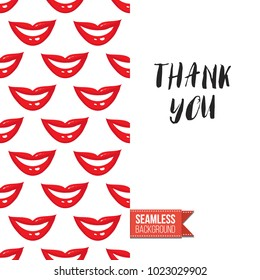 Fashion greeting card with girl emotions. Seamless pattern background woman face expressions: fashion emoticons, emoji, smiley icons, characters. Inscription: thank you. Vector template.