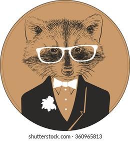 d194ed18d796 Hand Drawn Portrait Panda Sunglasses Bow Stock Vector (Royalty Free ...