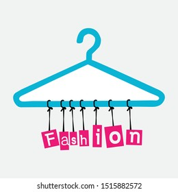 Fashion, hangers with pink text, vector logos
