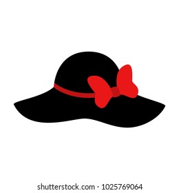 Fashion hat. Women s black hat with bow. Lady retro hat. Vector illustration . 8e834aec65d3