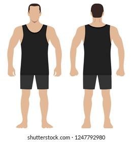 Fashion hero man body full length template figure set silhouette in shorts and singlet (front, back views), vector illustration isolated on white background