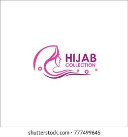 fashion hijab logo. pink. vector. feminine pattern.