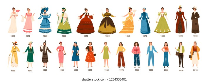 Fashion history. Collection of female clothing by decades. Bundle of women dress evolution. Girls in stylish clothes isolated on white background. Colorful vector apparel illustration in flat style.