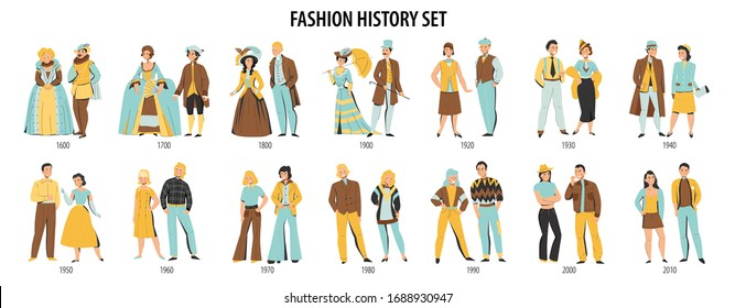 Fashion history men women costume from middle ages to modern times dressed couples flat set vector illustration