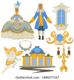 Fashion history Rococo style, decor and architecture, man and woman vector. Gold candlestick and jewelry, mirror and angel statue, window. Girl in ball gown and guy in wig, building with pillars