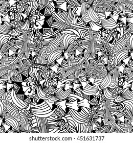 Fashion horizontal wallpaper design with black and white stylized doodle mushrooms, waves. Adult coloring page template