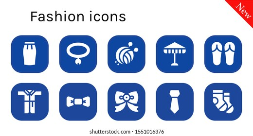 fashion icon set. 10 filled fashion icons.  Collection Of - Skirt, Collar, Yarn ball, Umbrella, Sandals, Bathrobe, Bow tie, Tie, Socks icons