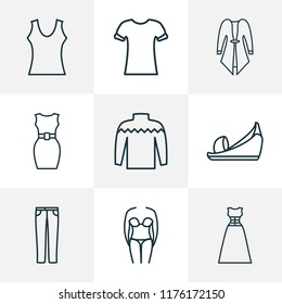 Fashion icons line style set with cardigan, bikini, sleeveless dress and other swimsuit elements. Isolated vector illustration fashion icons.