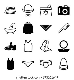 Fashion icons set. set of 16 fashion filled and outline icons such as camera, hairdresser peignoir, powder, singlet, cravat, trainers, comb, make up bag, shower, socks