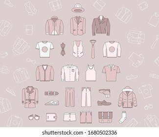 Fashion Icons set - Vector color symbols and outline of men's clothing for the site or interface