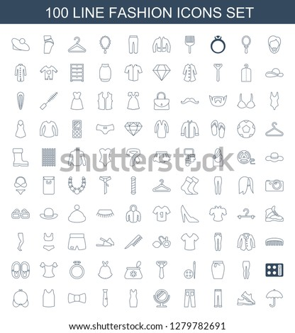 e2ca03d0 Contain icons such as umbrella, man shoe, woman pants, pants, mirror,  dress, tie, bow tie, singlet, bra. fashion icon for web and mobile. - Vector