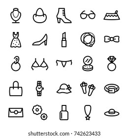 Fashion Icons. Woman Accessories Icon Set Vector