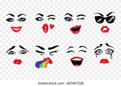 Fashion illustrated women's emotional faces: kissing wink, wink, sunglasses, laugh, puke, cry, sad, smile. Woman vector emoticons, emoji, smiley icons, characters.