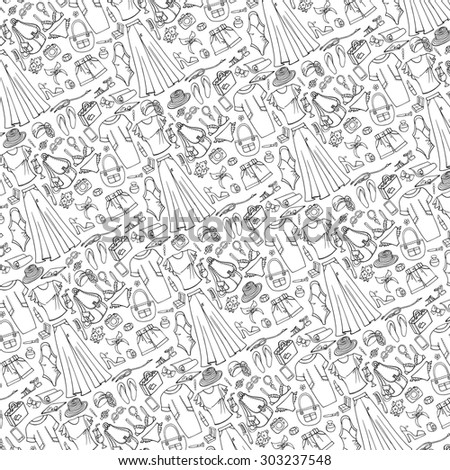 104c92f7d092 Fashion illustration background pattern.Summer vacation wear.Vector hand  drawn linear doodle