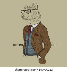 Fashion Illustration of Bear dressed in Vintage Style, Retro Chic, Vector Image