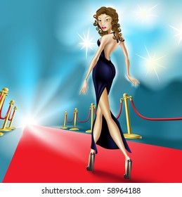 Fashion Illustration of beautiful elegant woman on the red carpet with flash photography in the background. Perhaps a  celebrity at an exclusive premier.