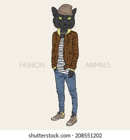 fashion illustration of black cat dressed up in casual city style