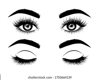 Fashion illustration. Black and white hand-drawn image of beautiful open and closed eyes with eyebrows and long eyelashes. Vector EPS 10.