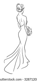 Fashion illustration of bride back with bouquet of flowers