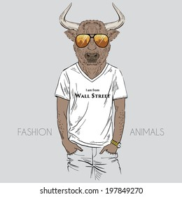 fashion illustration of  bull dressed up in t-shirt