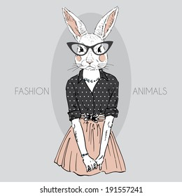 fashion illustration of bunny girl dressed up in hipster style