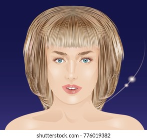 Fashion illustration, clean skin, neat hairstyle. Girl without makeup, vector.