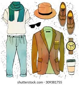 Fashion illustration clothing set. Mens clothes.