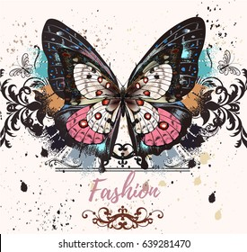 Fashion illustration with colorful butterfly and ink spots, grunge style background