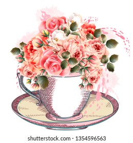 Fashion illustration with cup of tea and roses