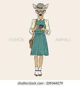 fashion illustration of cute deer hipster with photo camera