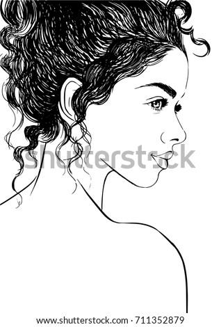 Vetor Stock De Fashion Illustration Cute Girl Curly Hair Livre De