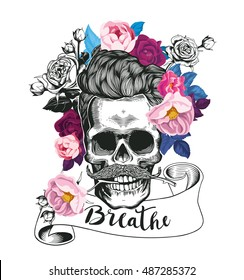 Fashion illustration depicting skull. Hipster skull with the rose in his teeth. Trending floral background. Could be used for T-shirt print, cards, banners. Vector illustration.