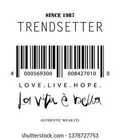 Fashion illustration design for t shirts, prints, posters etc / Life is beautiful in italian language ' La vita e bella ' hand lettering text, inspirational quote
