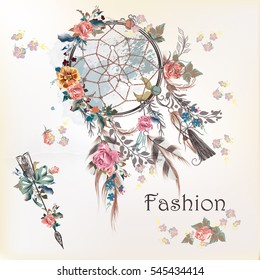 Fashion illustration with dream catcher and flowers. Hand drawn design
