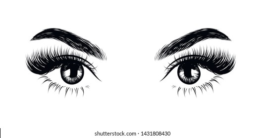 Fashion illustration of the eye with long full lashes. Hand drawn vector idea for business visit cards, templates, web, salon banners,brochures. Natural eyebrows and modern makeup
