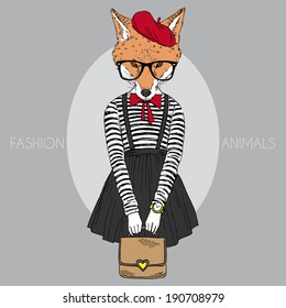 fashion illustration of foxy girl dressed up in french retro style