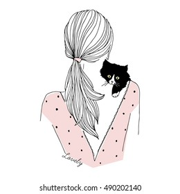 fashion illustration of girl with kitten