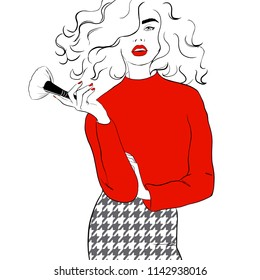 Fashion illustration girl with red lips sketch style. Woman in red sweater, checkered skirt. Magazine city style poster. Hand drawn fashion model posing. Sketch. Vector illustration. Style, beauty