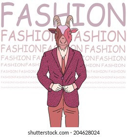 Fashion illustration of goat in a suit