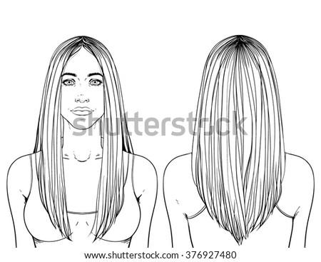 Fashion Illustration Haircut Long Hair Vshape Stock Vector Royalty